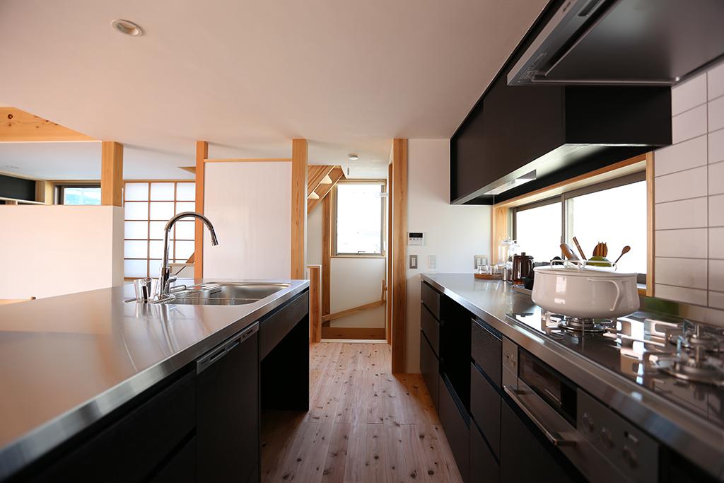 姫路市の木の家 オリジナルアイランドキッチン