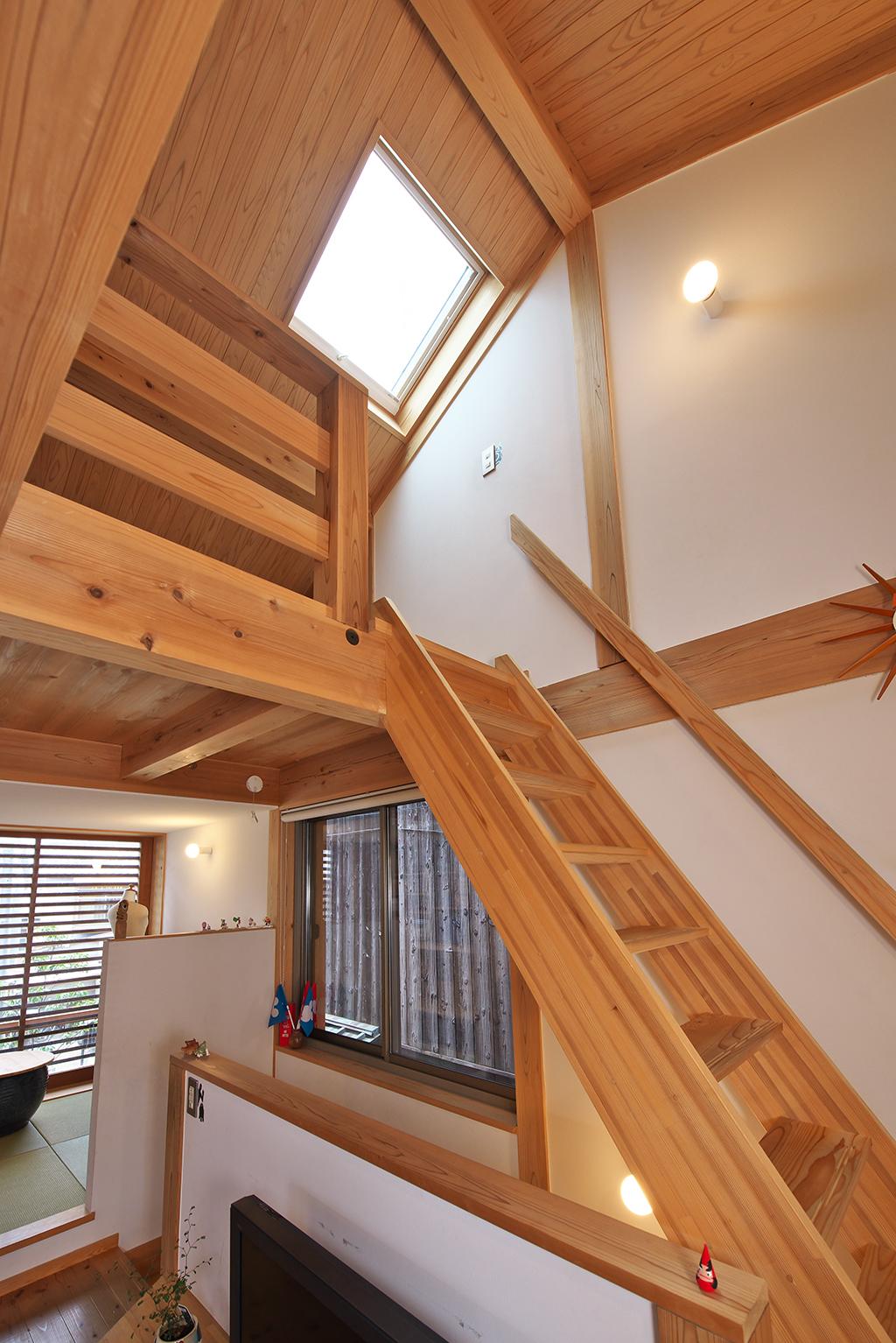 姫路市の木の家 天窓から光が降り注ぐ明るいロフト