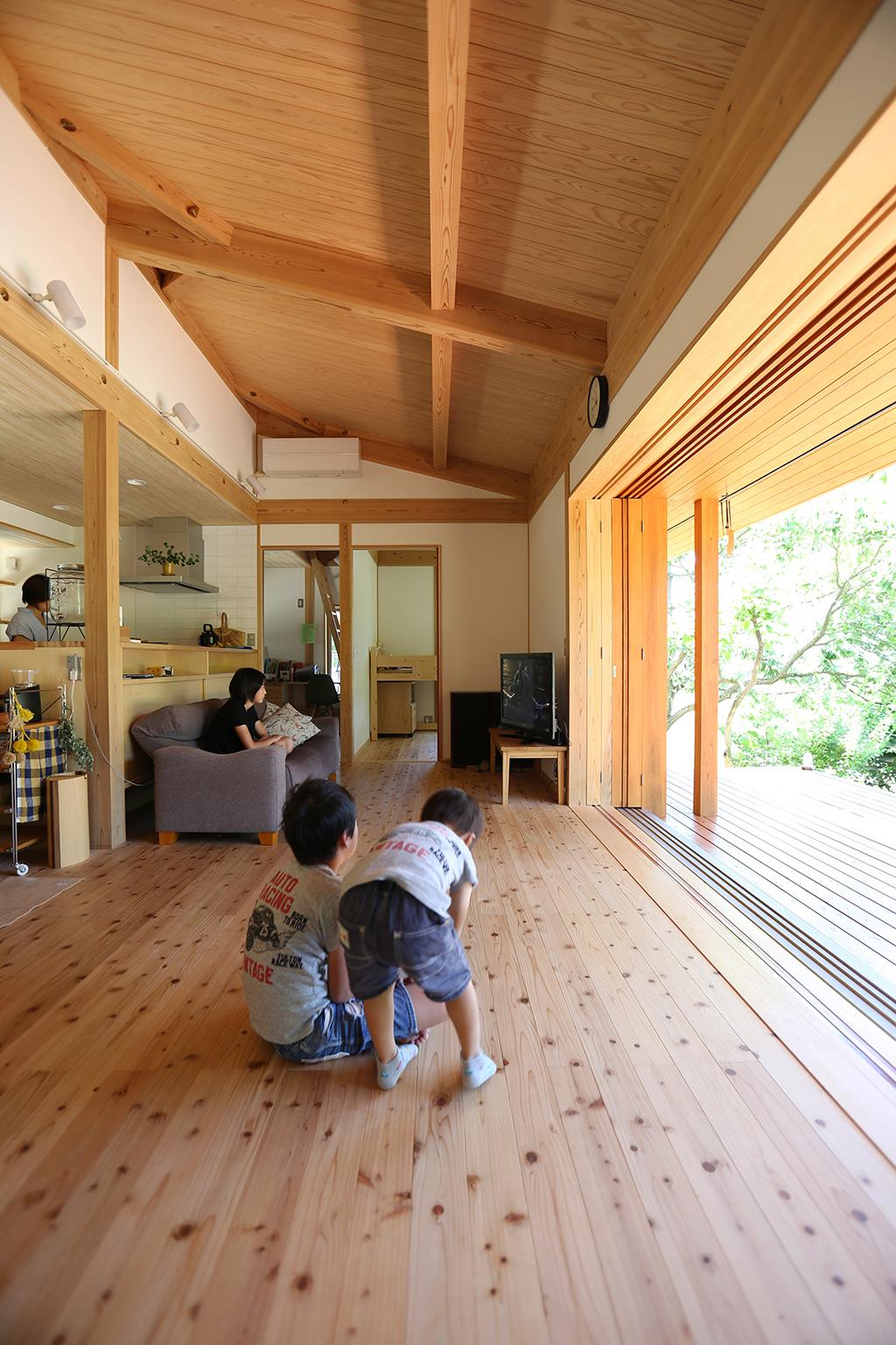 姫路市の木の家 勾配天井開放的なリビング