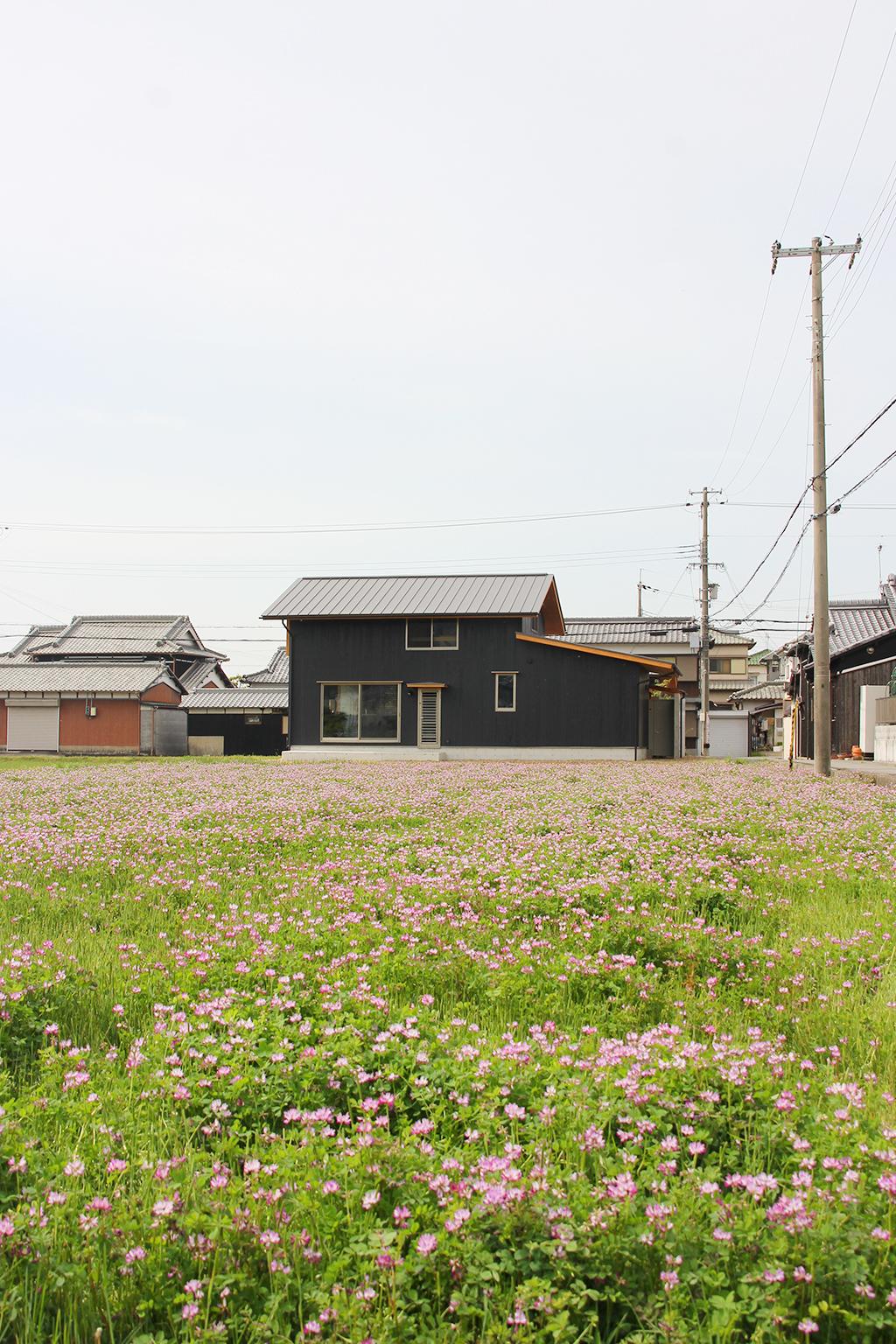 姫路市の木の家 れんげ畑の傍に佇む