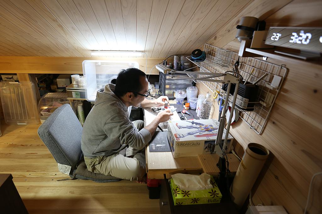 明石市の木の家 小屋裏のご主人の趣味室