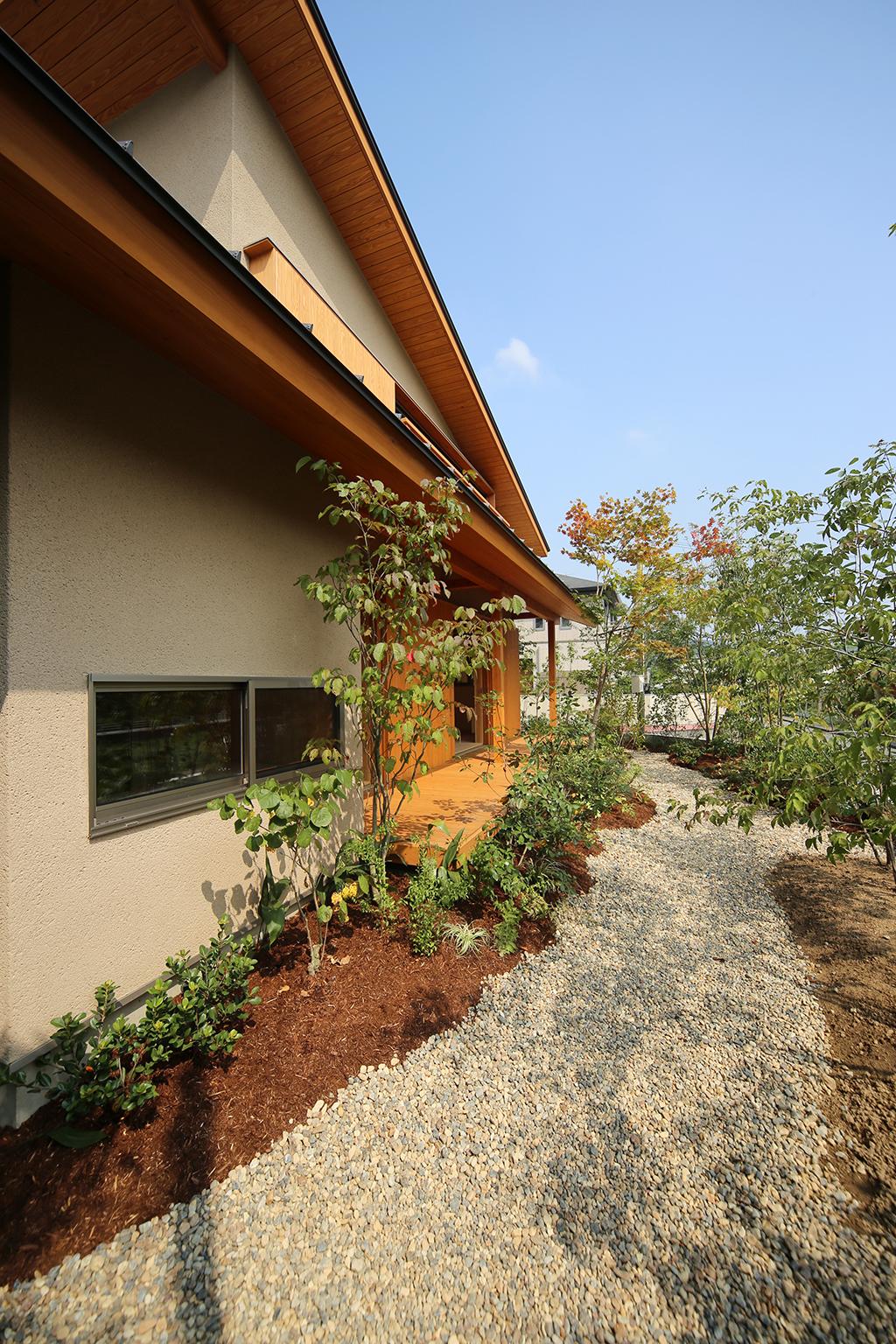 姫路市の木の家 ハーブがいっぱいの庭