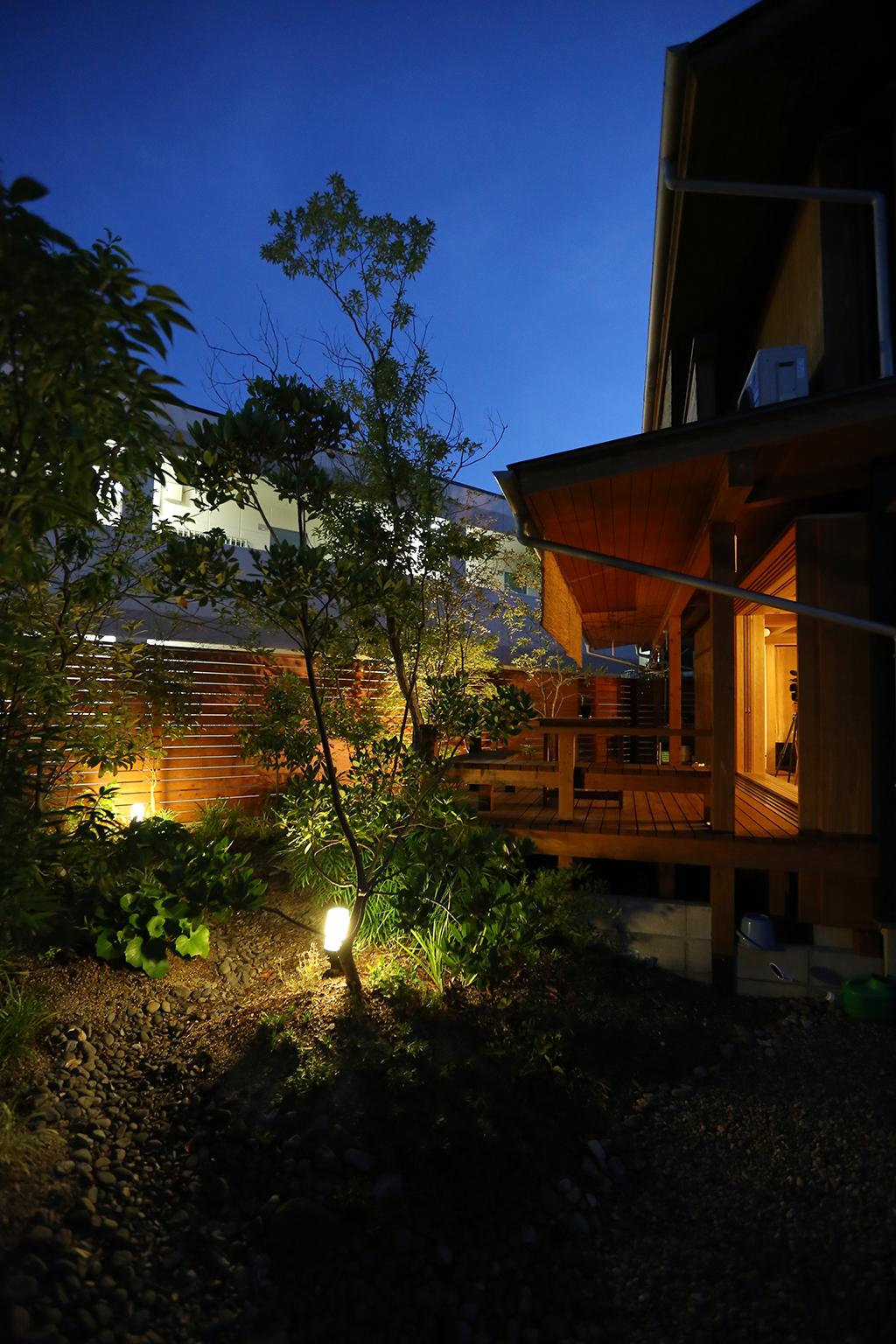 姫路市の木の家 ライトアップされた庭