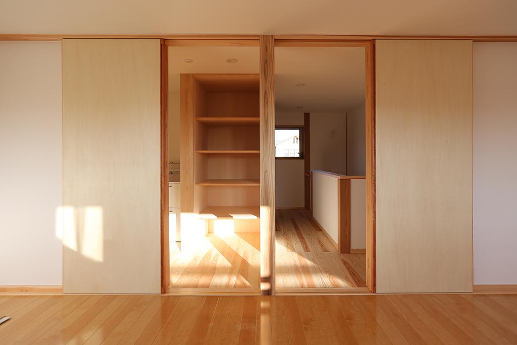 姫路市の木の家 将来間仕切って使えるフリールーム