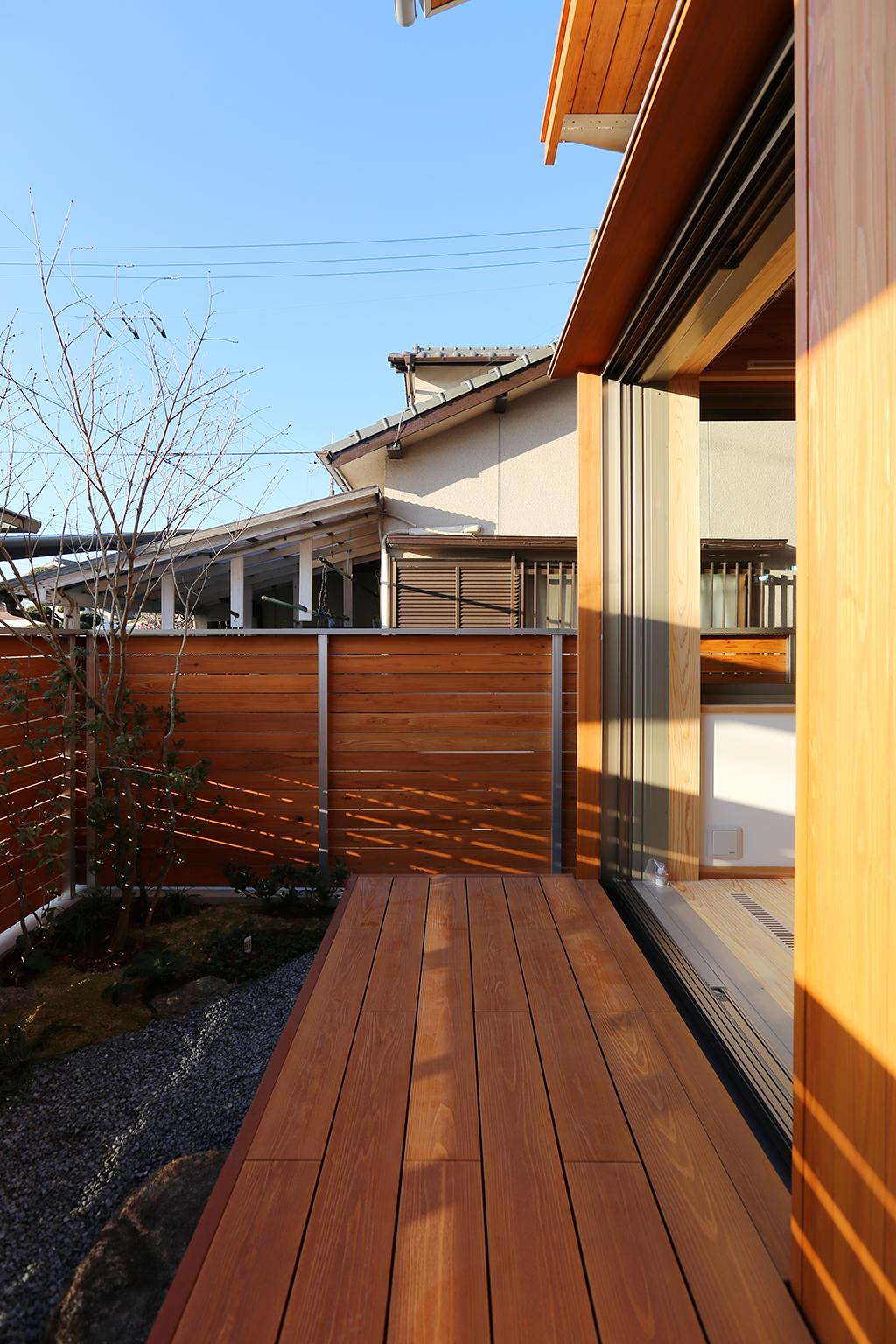 姫路市の木の家 ウッドデッキ