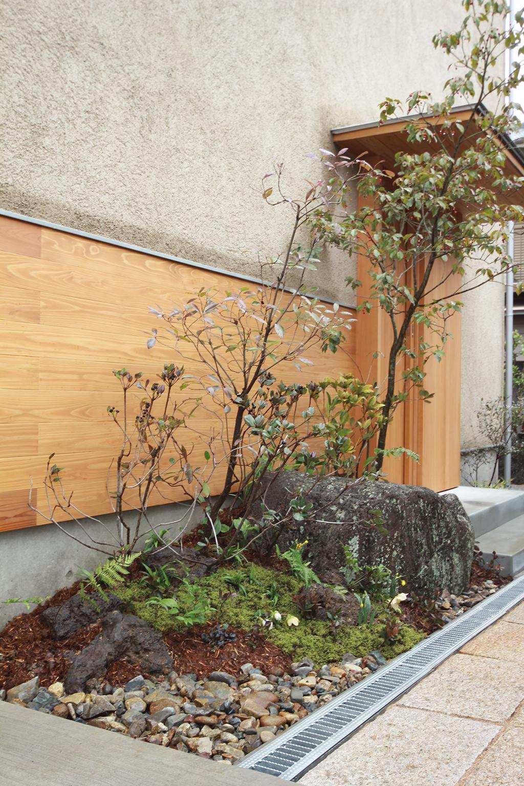 姫路市の木の家 和の趣のある植栽