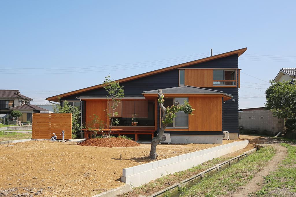姫路市の木の家 片流れ屋根の外観