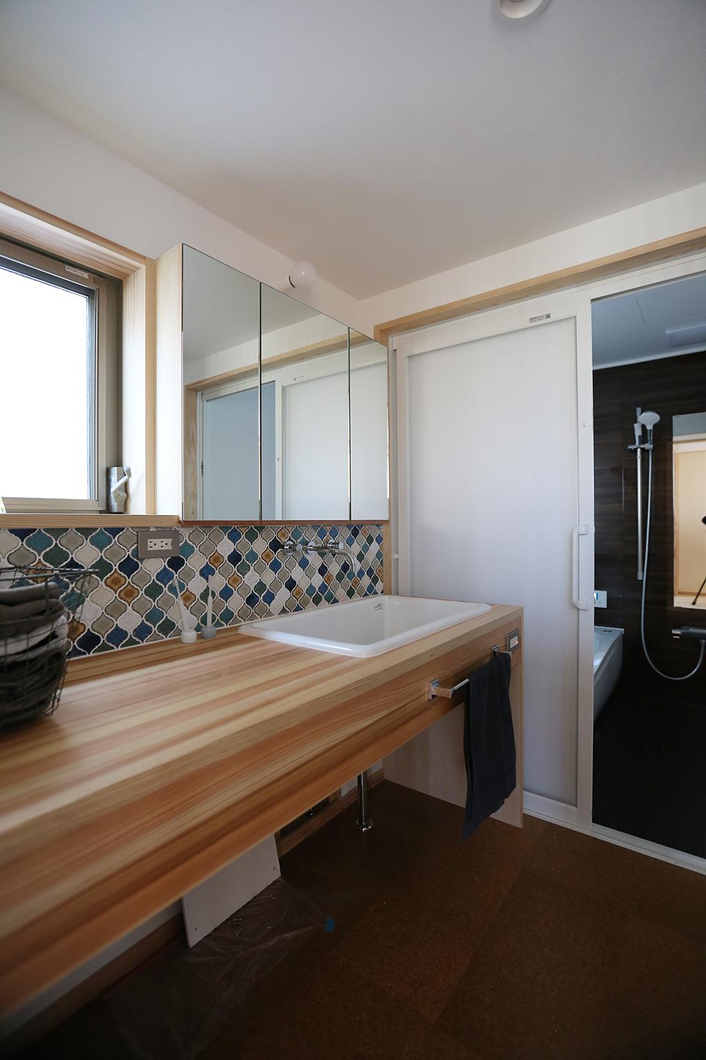 姫路市の木の家 造作洗面台