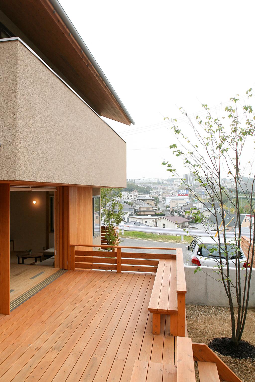 神戸市の木の家 デッキからの眺め