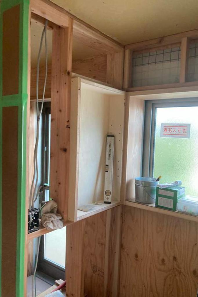 川辺郡の木の家 洗面所大工工事