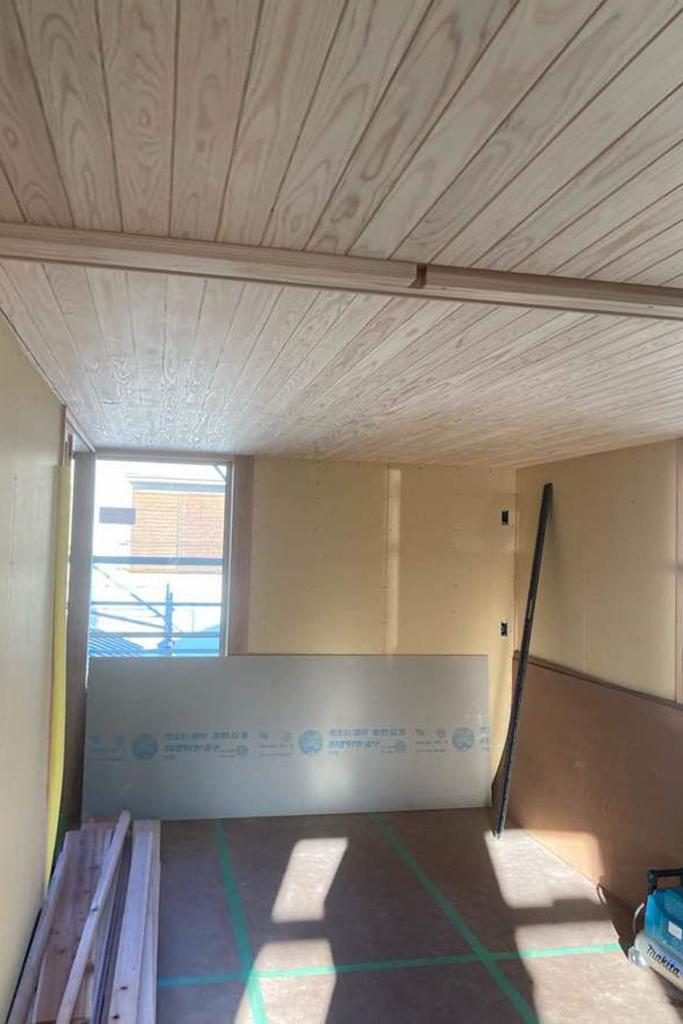 川辺郡の木の家 大工工事天井