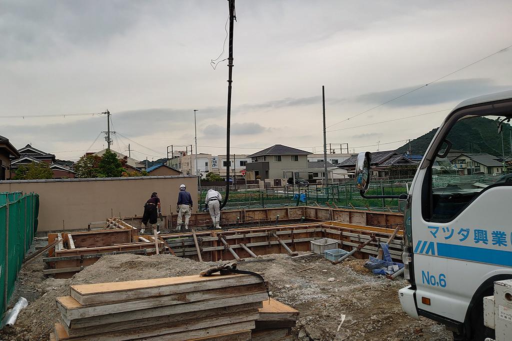 姫路市の木の家 基礎工事コンクリート打設
