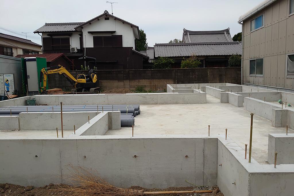 加古川市の木の家 基礎工事完成