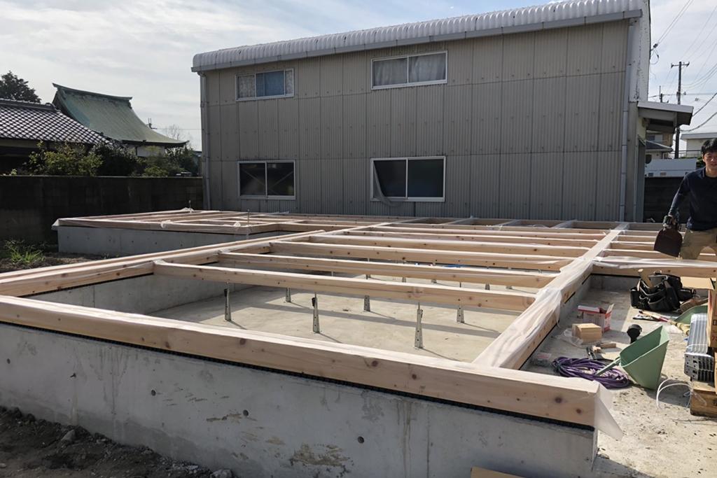 加古川市の木の家 土台敷き